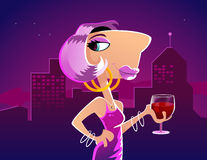 Nightlife. Women in purple dress enjoying wine with a night cityscape behind her. RGB vector EPS available Stock Photography