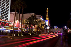 Nightlife along the Las Vegas Strip. In front of the Paris Casino. Picture shows th Paris balloon and the Eiffel Tower replica which is about half the size of Stock Photo