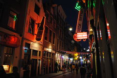Nightlife in Amsterdam. Nightlife in an Amsterdam city center street Royalty Free Stock Photography