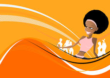 Nightlife Background. An illustrated nightlife background with an African woman and dancing silhouettes on an abstract orange pattern stock illustration