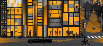 Nightlife background. Image orange color royalty free illustration