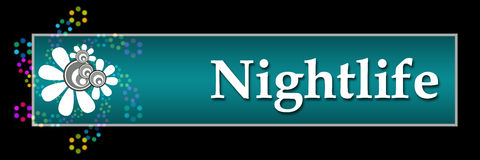 Nightlife Black Colorful Neon Horizontal. Nightlife text over dark background with colorful elements Stock Images