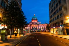 Nightlife with city hall in Belfast, UK Stock Photo