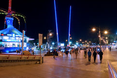 Nightlife cityscape of Eilat promenade, Israel Stock Image