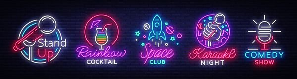 Nightlife collection neon signs. Design Template, Set logos in neon style, Stand up, Cocktail, Space Club, Karaoke night stock illustration