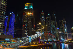 Nightlife in Dubai Marina. UAE. November 14, 2012. DUBAI, UAE - NOVEMBER 14: Nightlife in Dubai Marina. UAE. November 14, 2012. Dubai was the fastest developing Stock Image