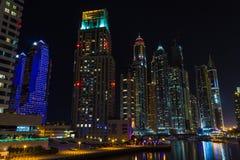 Nightlife in Dubai Marina. UAE. November 14, 2012 Royalty Free Stock Photos