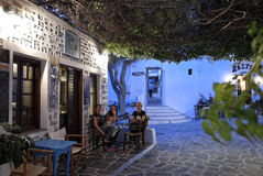 Nightlife in Folegandros, Greece. Beautiful nightlife with bars and restaurants in Folegandros island, Greece Royalty Free Stock Image