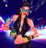 Nightlife girl posing on city street with motion blur, music speaker gloves. Sexy disco dance, party girl with brunette hair, music notes coming from her gloves Stock Images
