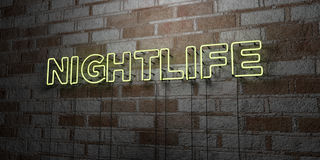 NIGHTLIFE - Glowing Neon Sign on stonework wall - 3D rendered royalty free stock illustration. Can be used for online banner ads and direct mailers stock illustration