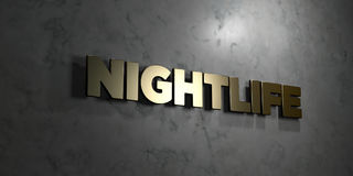 Nightlife - Gold text on black background - 3D rendered royalty free stock picture. This image can be used for an online website banner ad or a print postcard Royalty Free Stock Image