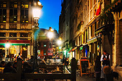 Nightlife at the Grand Place square at night in Brussels, Belgium Royalty Free Stock Photo