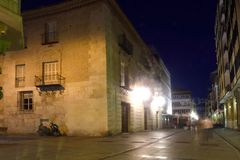 Nightlife in the historical center of the city of Palencia, Cast Royalty Free Stock Photography