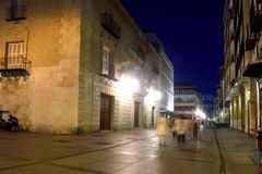 Nightlife in the historical center. Of the city of Palencia, Castilla y Leon, Spain Stock Photography