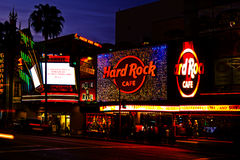Nightlife On Hollywood Boulevard. Los Angeles, USA -  March 4, 2012: Hollywood Boulevard in the heart of Los Angeles is a major tourist attraction which includes Stock Photo