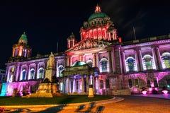 Nightlife with illuminated city hall in Belfast, UK Royalty Free Stock Photo