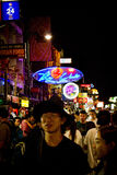 Nightlife on Koa San road of Bangkok, Thailand at midnight Royalty Free Stock Photo