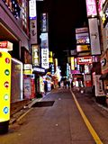 Nightlife. In korea.we are walking on the street on winter season Royalty Free Stock Photo