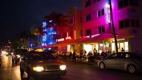 Nightlife at Ocean Drives street, South Beach, Miami. stock video