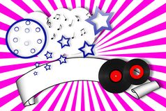 Nightlife Party Banner. With cloud moon stars and records Stock Images