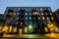 Nightlife on River Street in Savannah, Georgia at Night Royalty Free Stock Image
