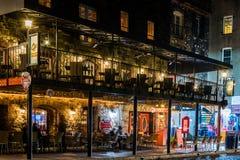 Nightlife on River Street in Savannah, Georgia at Night Stock Photo