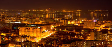 Nightlife Russia, the evening city of Saratov with Volga River, Royalty Free Stock Image