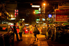 Nightlife scene of the Koa San road area of Bangkok, Thailand at Royalty Free Stock Photo