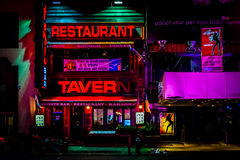 Nightlife on 7th Avenue at night, at Times Square, Midtown Manha Royalty Free Stock Photos