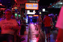Nightlife on walking street in Thailand Royalty Free Stock Images