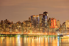 Nightlight of New York City Manhattan downtown with the reflecti. Beautiful nightlight of New York City Manhattan downtown with the reflection over Hudson River Royalty Free Stock Images