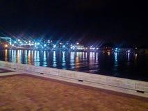 Nightlights del porto di Kenosha Fotografie Stock Libere da Diritti