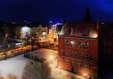 Nightly air view panorama of Katowice in the winter, Poland. Eur Stock Images