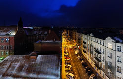 Nightly air view panorama of Katowice in the winter, Poland. Royalty Free Stock Photo