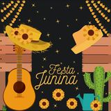 Nightly background poster of festa junina with of cactus guitar and hat and sunflowers. Vector illustration Stock Images