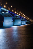 Nightly bridge. Nightly illumination of motor-car bridge Royalty Free Stock Photography