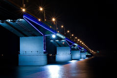 Nightly bridge. Nightly illumination of motor-car bridge Royalty Free Stock Image