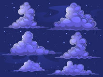Nightly cartoon clouds Stock Image