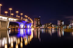Nightly city by the lake Royalty Free Stock Images