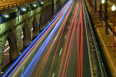 Nightly City Traffic Lights Royalty Free Stock Images