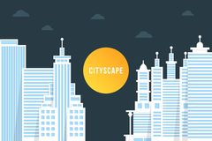 Nightly cityscape with white buildings stock illustration