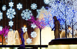 Nightly colorful christmas illumination Stock Photo