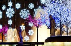 Nightly colorful christmas illumination Stock Photo