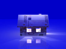 Nightly Euro Toy House. 3D Illustration Stock Images