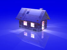 Nightly Euro Toy House. 3D Illustration Royalty Free Stock Image