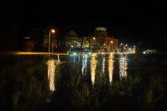 Nightly flood. In Haapsaly city, Estonia stock photos