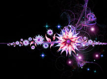 Nightly floral background. With stars and fractals vector illustration