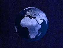 Nightly Globe. 3D rendered Illustration. Starfield Background Royalty Free Stock Photography