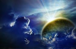 Nightly hemel met grote maan Stock Afbeelding