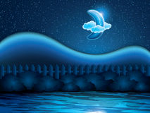 Nightly landscape with half moon Royalty Free Stock Photo